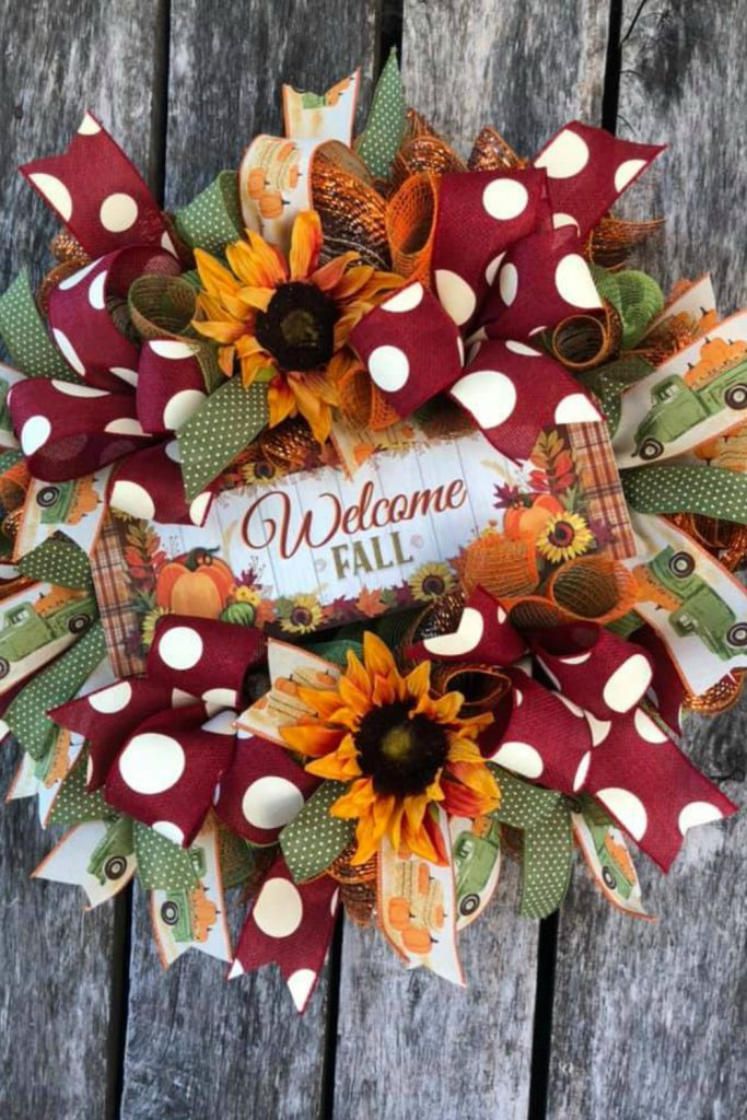 welcome fall, fall mesh wreath, green truck ribbon