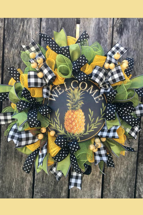 pineapple wreath, welcome wreath