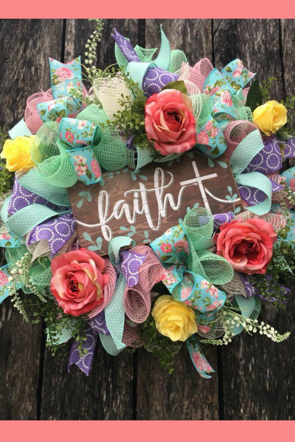 faith, mother's day, spring wreath, floral wreath, silk flower wreath, vintage ribbon wreath