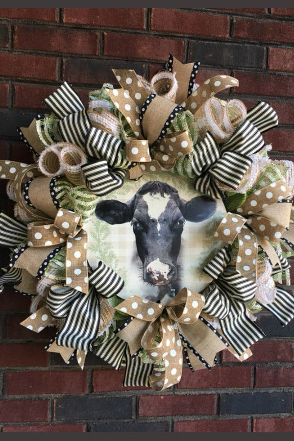 farmhouse wreath, farm wreath, country wreath, cow wreath, bessie the cow