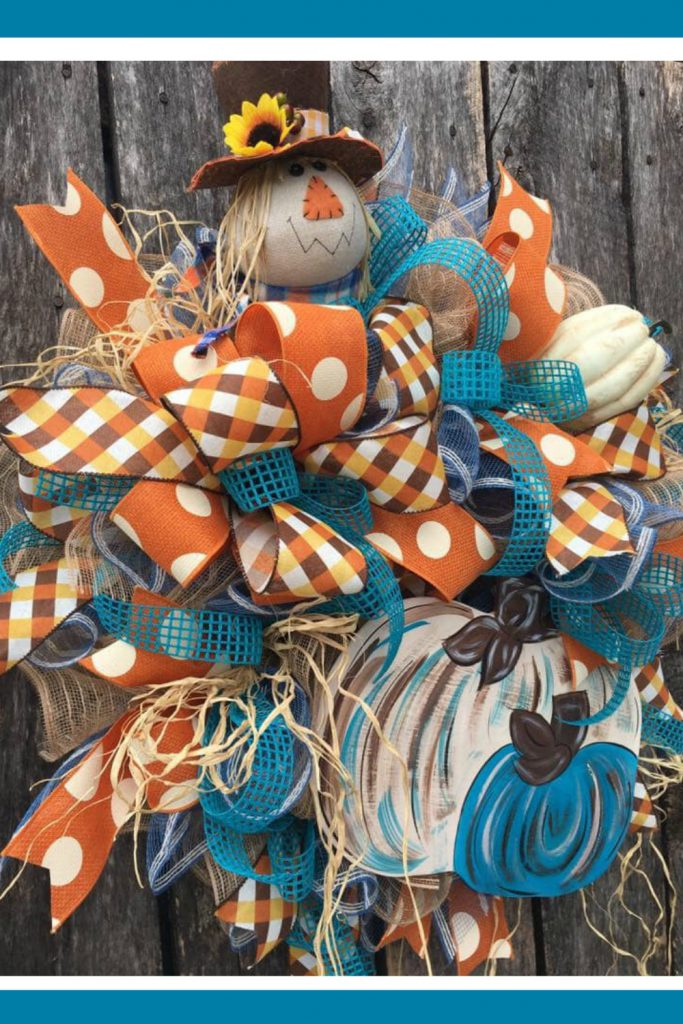scarecrow wreath, fall pumpkin wreath, whimsical scarecrow wreath, cute scarecrow wreath