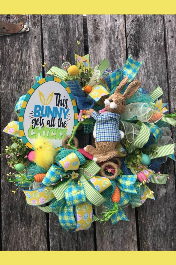 easter wreath, bunny wreath,, chick wreath, spring easter decor, easter wreaths