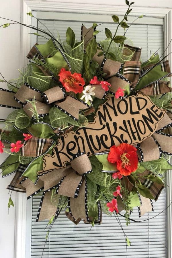 my old kentucky home, kentucky wreath, kentucky door wreath,