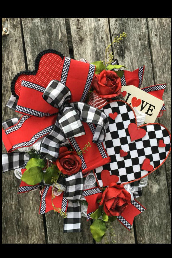 valentine wreath, handmade hearts