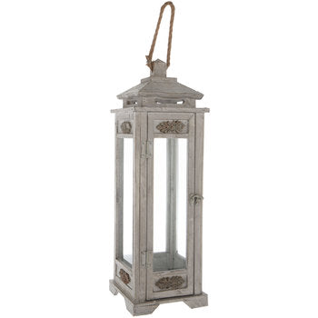 antique grey lantern, wood lantern