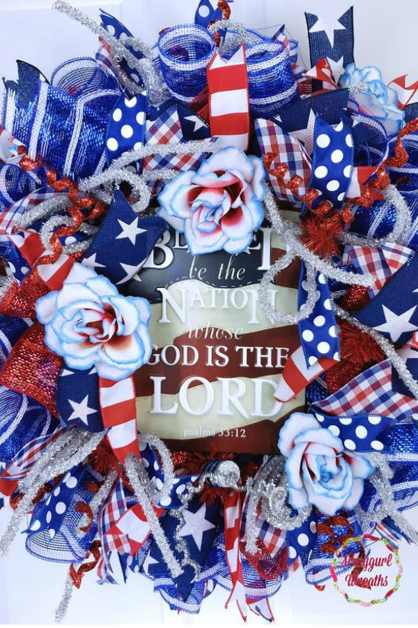 July 4th Independence Day Patriotic Deco Mesh Wreath for front door