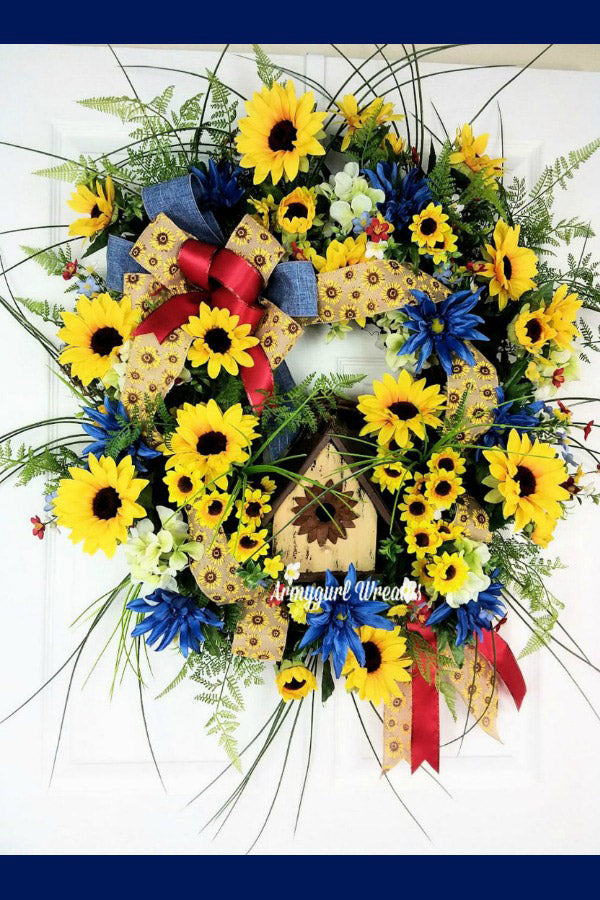 sunflower wreath, birdhouse wreath, spring door wreath