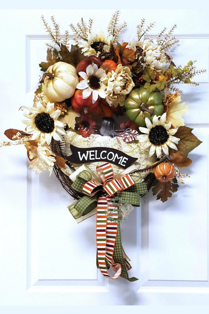 Welcome Wreath, Fall Wreath, Fall Pumpkin Wreath, Harvest Wreath, Autumn Wreath, Sunflower Wreath