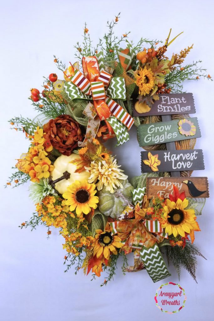 fall scarecrow wreath, buffalo check pumpkin wreath, fall swag, scarecrow girl swag
