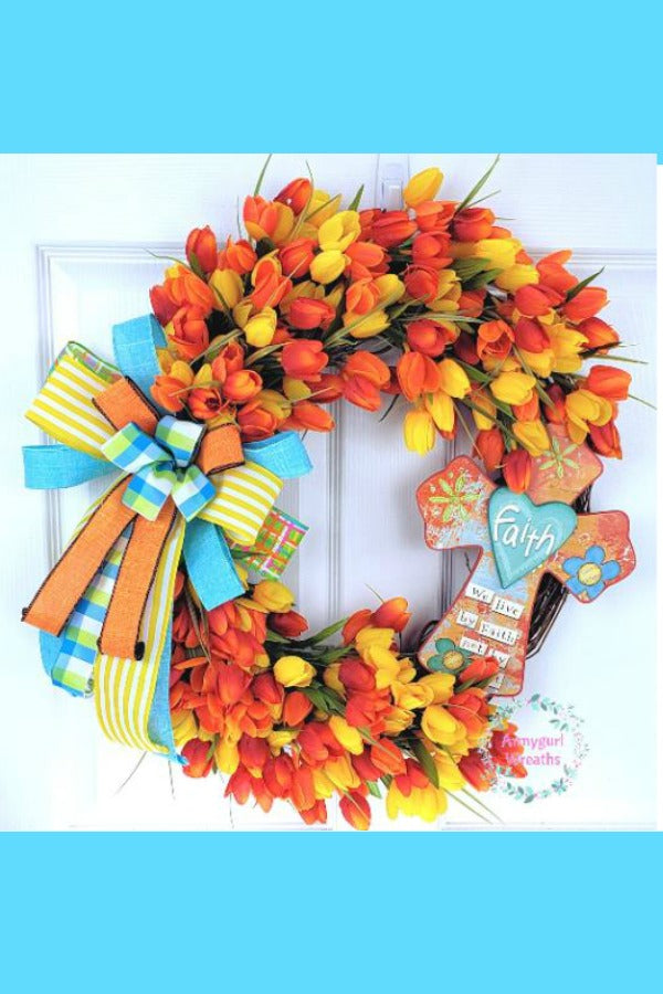 tulip wreath, spring tulip, flower wreath, wreath with cross, orange tulip, yellow tulip
