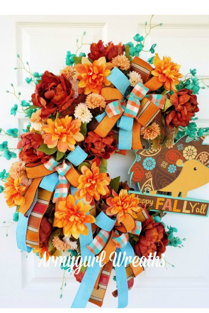 Sunflower Wreath, Scarecrow Wreath Denim fall wreath,