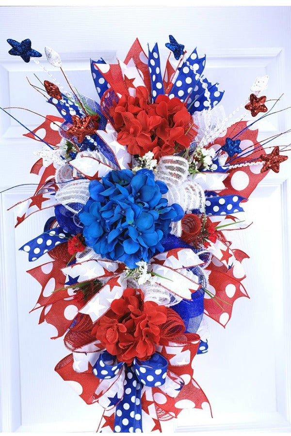 God Bless America - Lady Land of Liberty - patriotic wreath, red white blue wreath