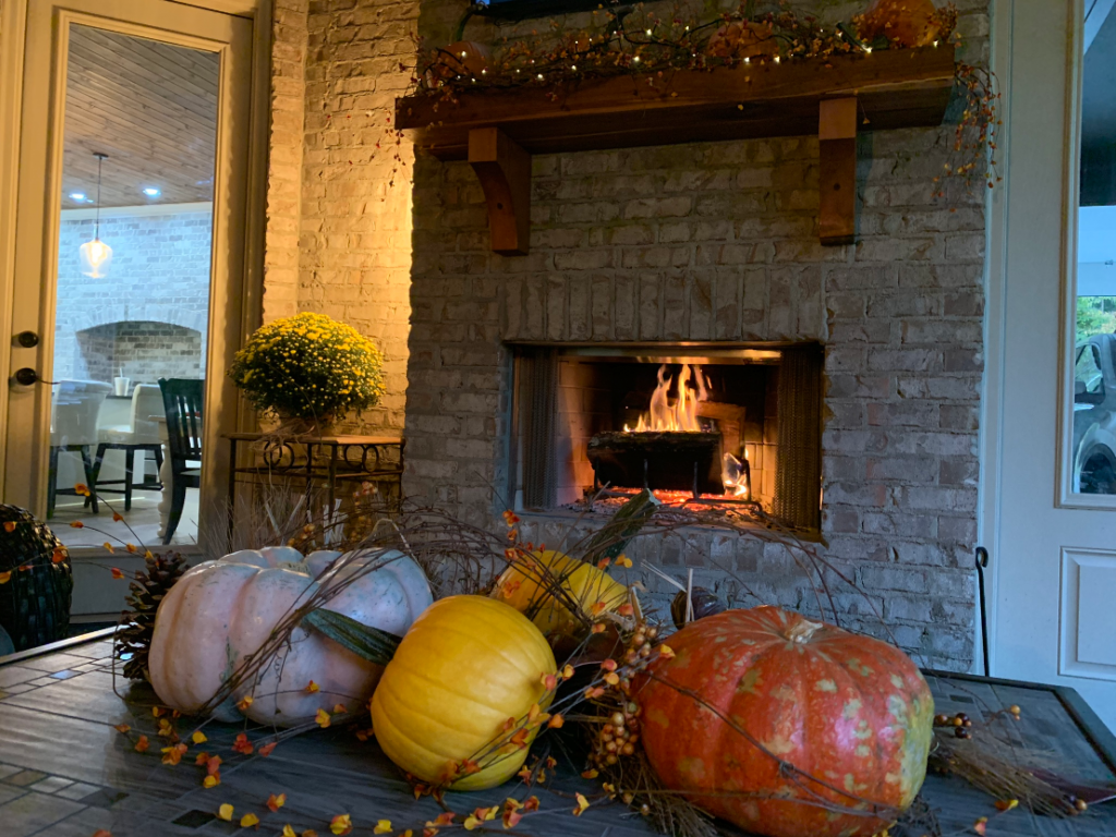 outdoor fall decor, back porch fireplace, back porch mantel