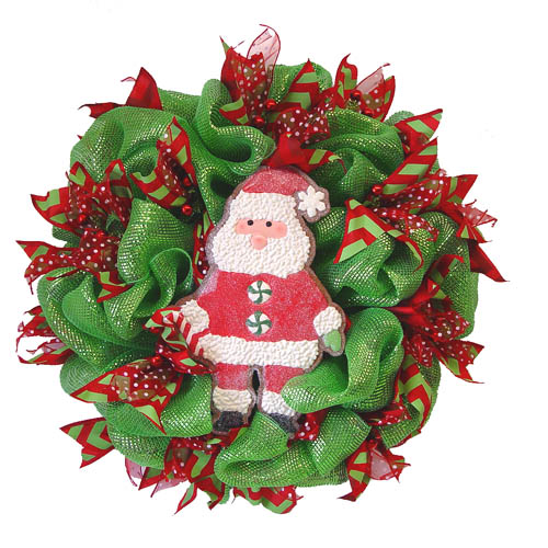 basic-green-wreath-medium-santa-cookie