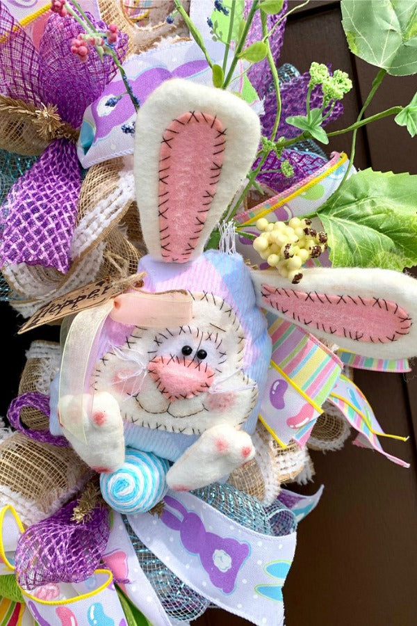 Easter Wreath, Easter Bunny Wreath, Easter Decor, Easter Decorations, Easter Rabbit, Jelly Beans, Pastel Wall Decor, Easter Eggs, Happy Easter, Stuffed Easter Bunny