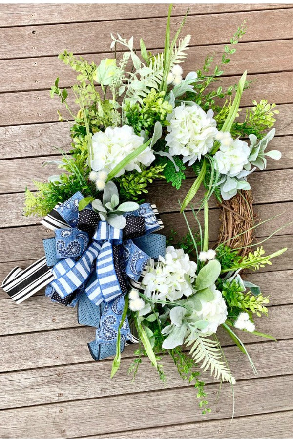 Hydrangea Wreath, Rustic Decor, Grapevine Wreath, Spring Wreath, Mother's Day Gift, Summer Wreath, Everyday Wreath, Lambs Ear, Gift for Mom, Unique Gift, Artificial Flowers, Country Decor, Floral Wreaths, Hydrangea Flowers