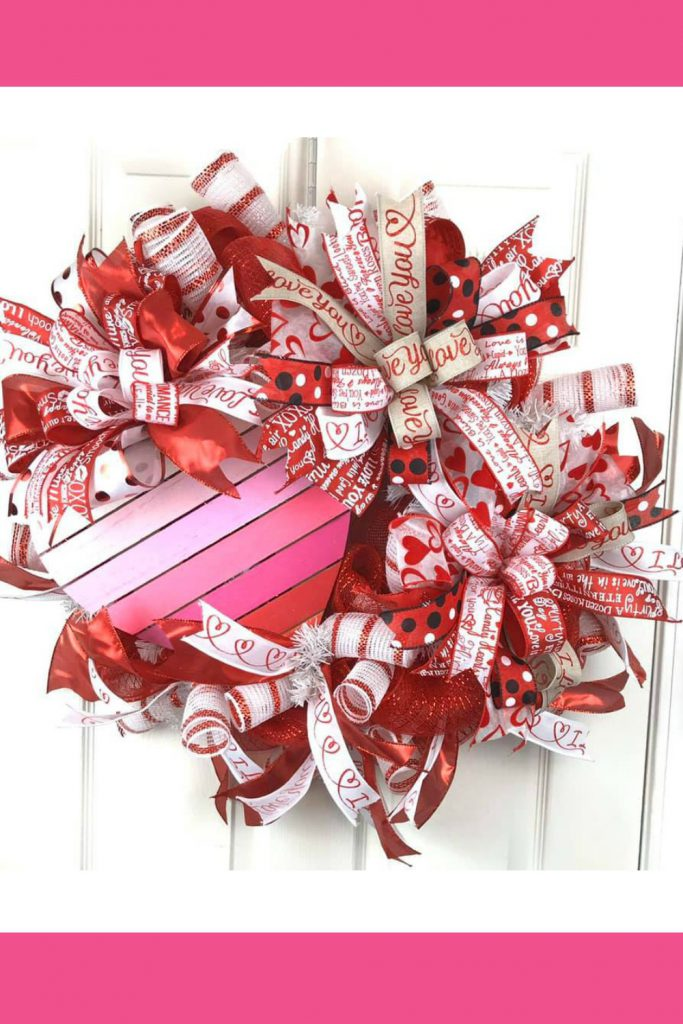 Pink Red Valentine Wreath with heart
