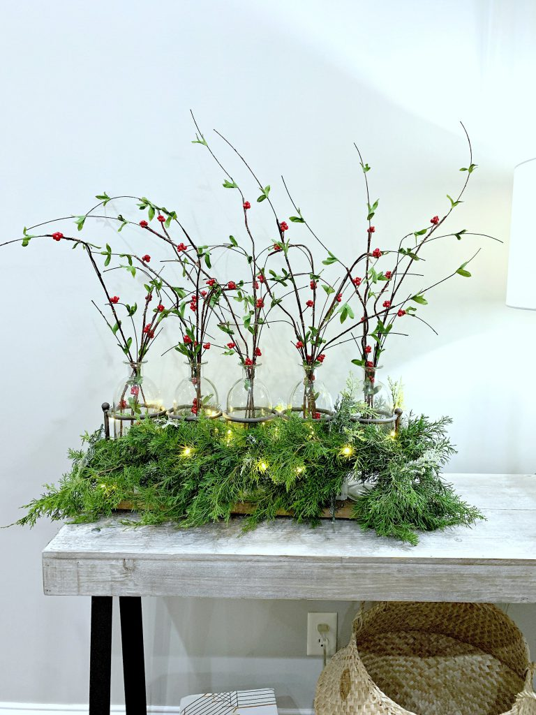 red berry pick, christmas floral arrangement