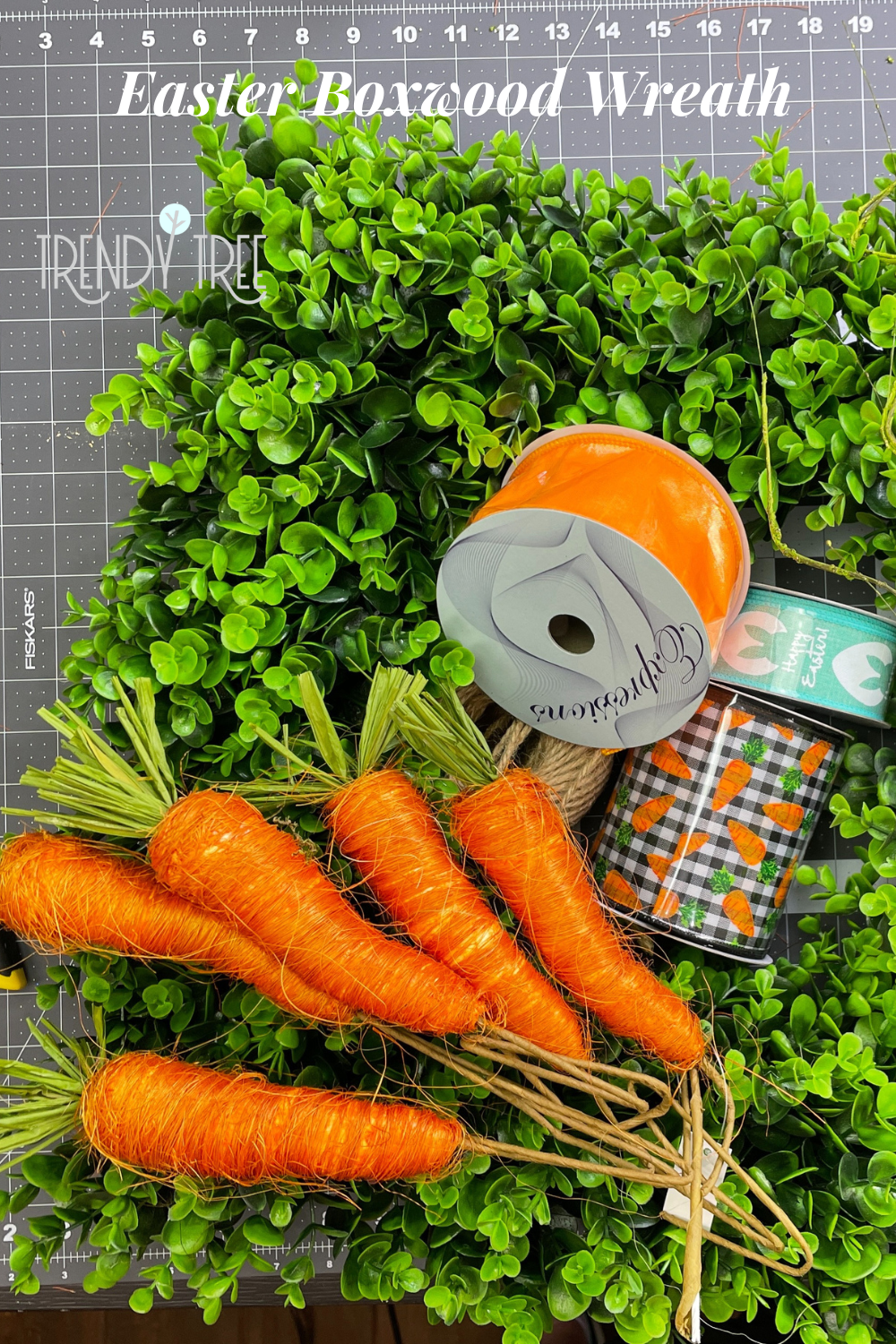Supplies for Decorating a Boxwood Wreath for Easter