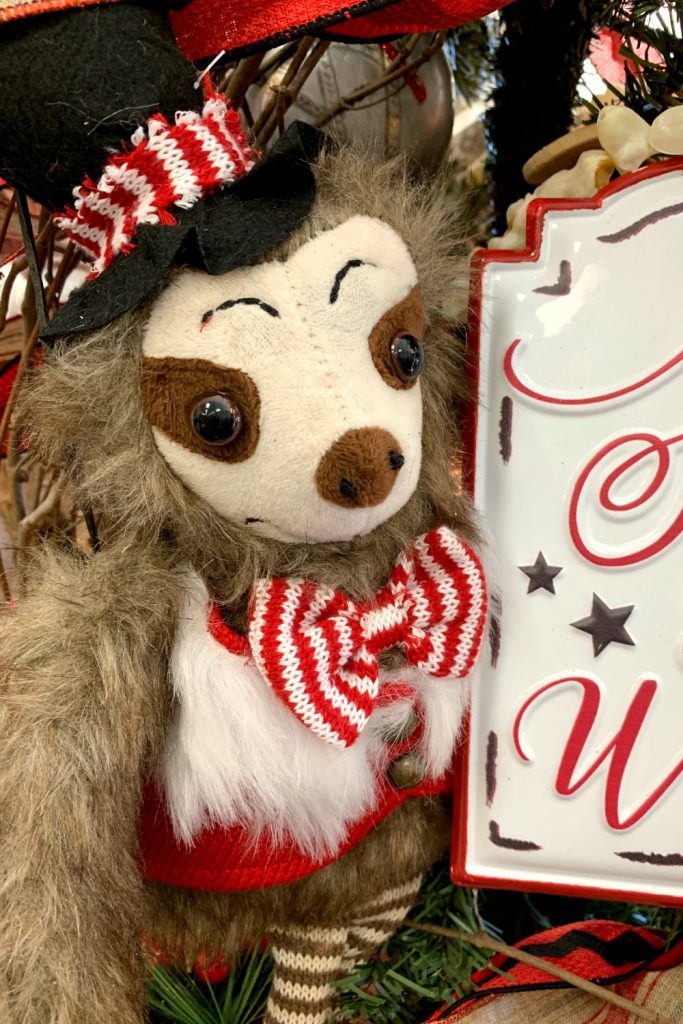 sloth, sloth with ear muffs, buffalo check christmas, cabin decor, lodge christmas