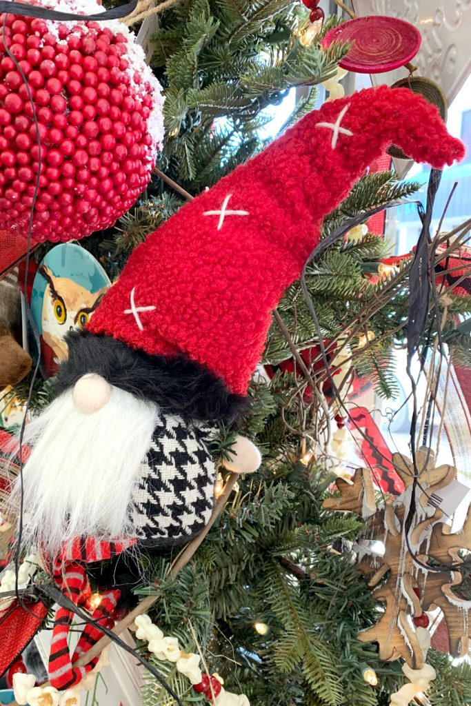 houndstooth gnome, alabama gnome, christmas gnome, herringbone gnome, red black buffalo check