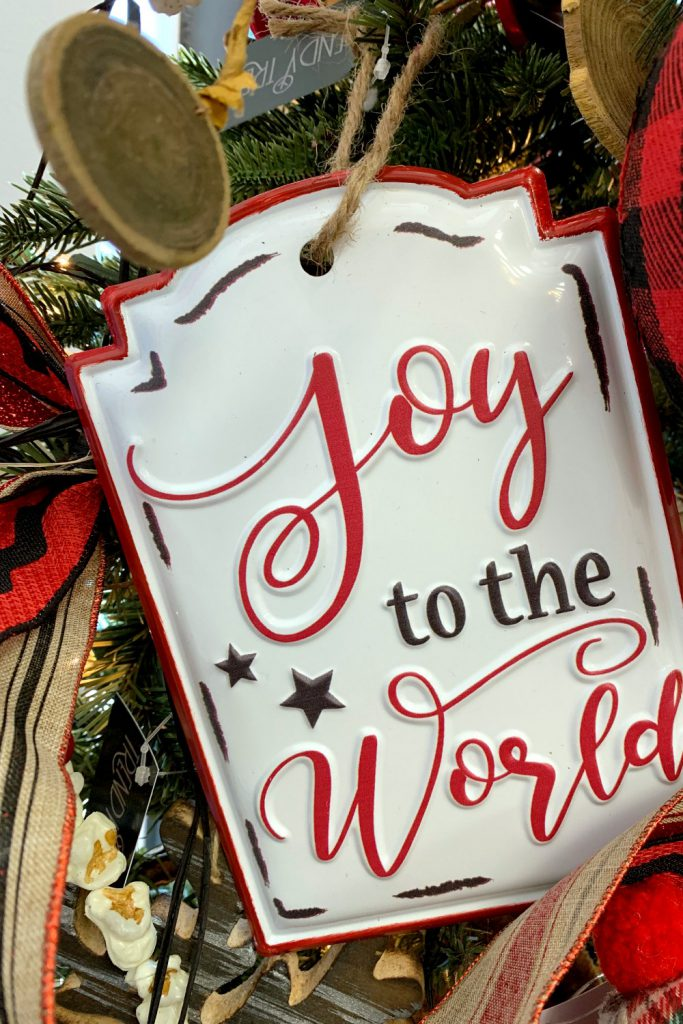 joy to the world, black red buffalo check, cabin theme