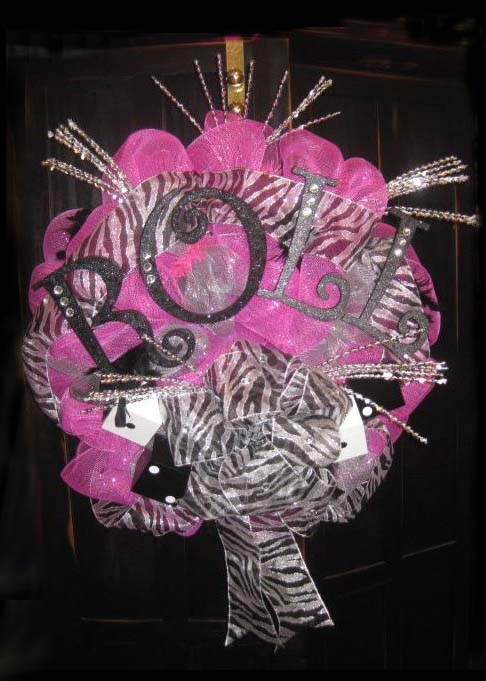 bunco wreath pink black silver bling