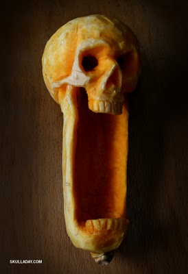 skull made out of butternut squash