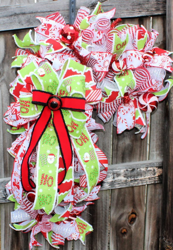 Deco Mesh Candy Cane Wreath Trendy Tree
