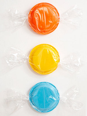 candy plates wrapped in cellophane