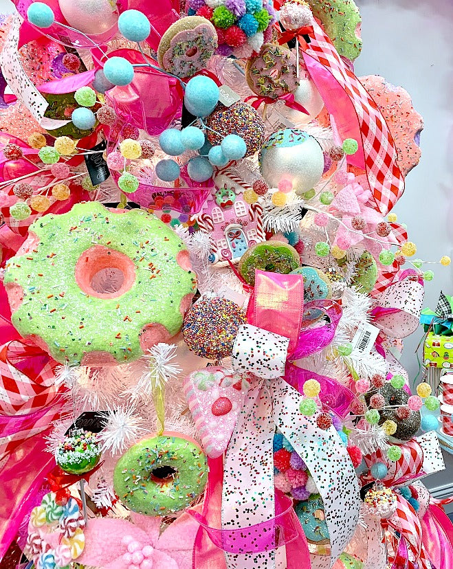 candy sprinkles, donut, flocked ball, candy ornament, candy land