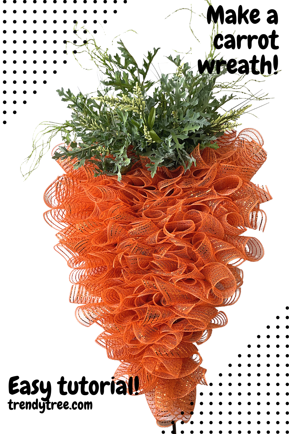 easy carrot wreath tutorial with deco mesn