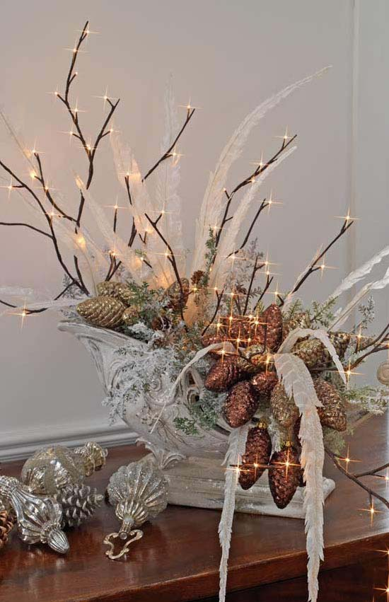 winter palace centerpiece with lighted branches