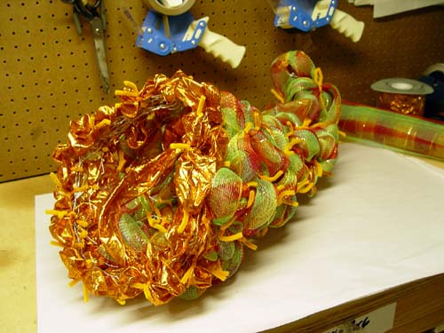 fall cornucopia made of chicken wire and deco poly mesh ribbon