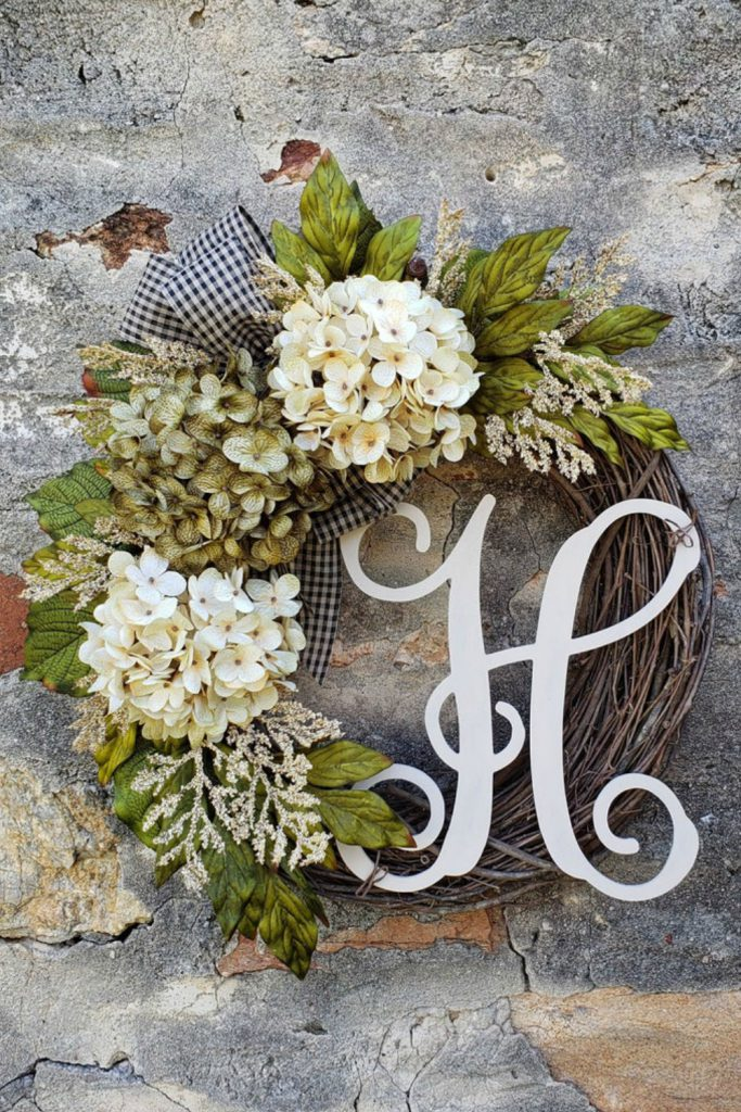 Hydrangea wreath, Fall wreath, Everyday wreath, Rustic wreath, Farmhouse wreath, Summer wreath, Christmas wreath, Easter wreath, Spring wreath, Farmhouse décor, Monogram wreath