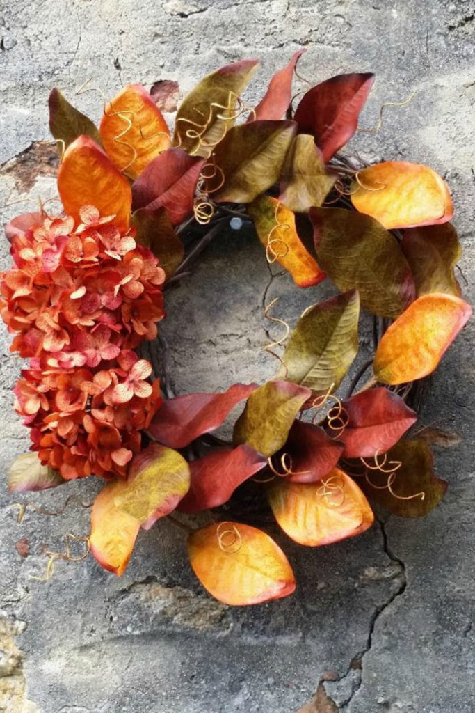 Fall wreath, Fall Hydrangea wreath, Fall grapevine wreath, Fall Magnolia Leaf wreath, Autumn wreath, Fall decor, Thanksgiving wreath