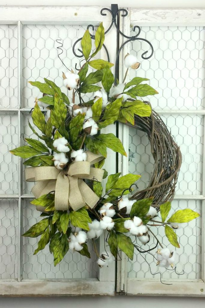 Southern Cotton Boll wreath, Cotton wreath, Rustic wreath, Primitive wreath, Wedding wreath, 2nd Wedding Anniversary gift, Everyday wreath