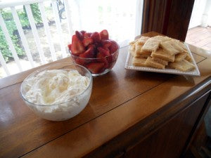 strawberries, whipped cream and sugar cookies
