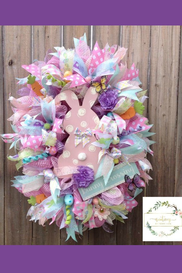 Easter Wreath. Easter Decor. Bunny Easter Wreath. Spring Wreath. Front Door Wreath. Deluxe Wreath. Mother's Day. Bunny Wreath. Spring Decor