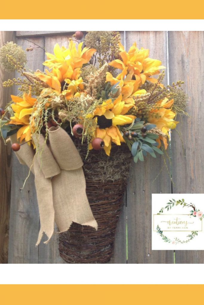 fall flower arrangement, sunflower door hanger