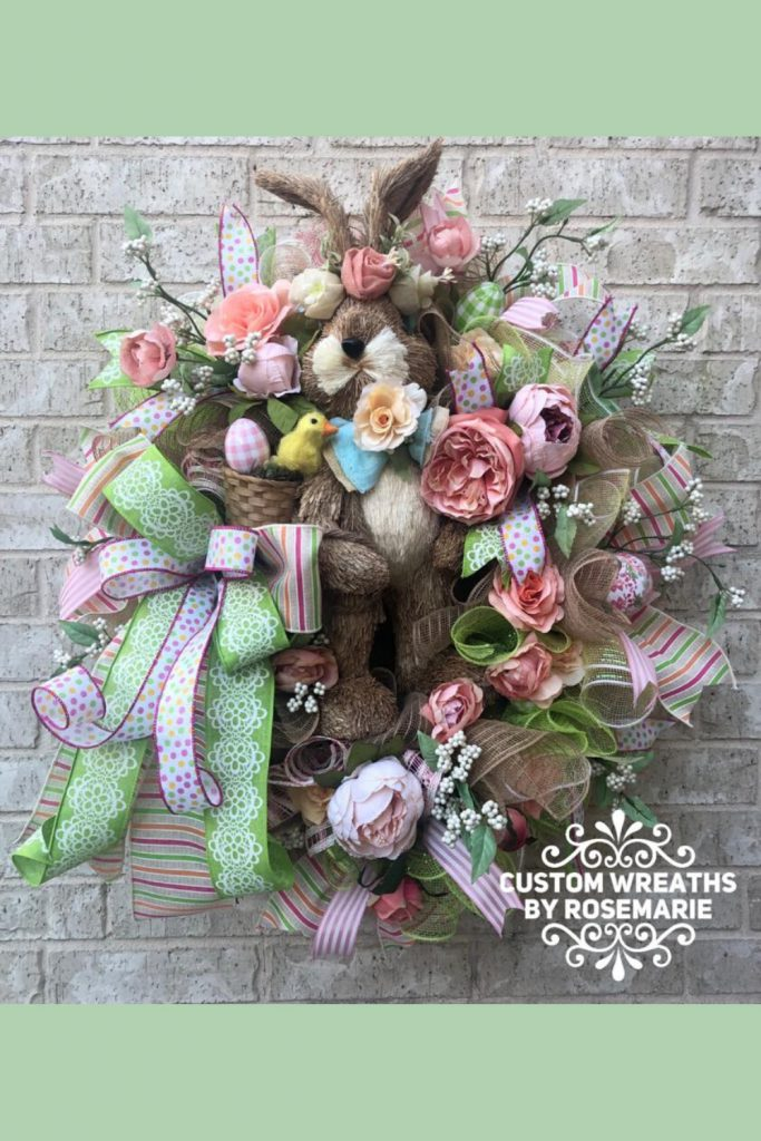 easter wreath, spring wreath with rabbit