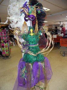 dress form decorated mardigras style with deco poly mesh netting