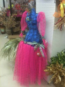 dress form decorated with pink and blue poly deco mesh netting