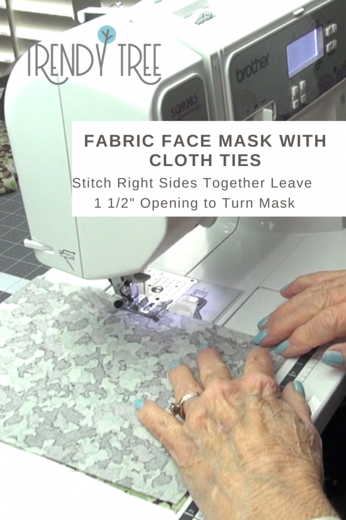stitch right sides together for fabric face mask