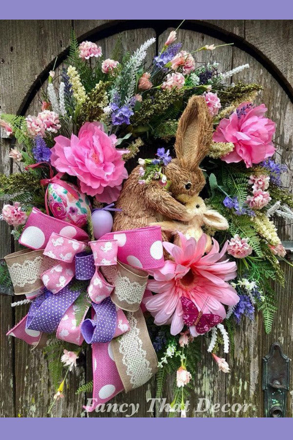 easter wreath, bunny wreath, spring wreath