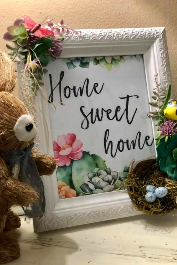 Home sweet home sign, succulent decor, succulents sign, embellished picture frame, farmhouse decor, farmhouse sign, spring decor, frame