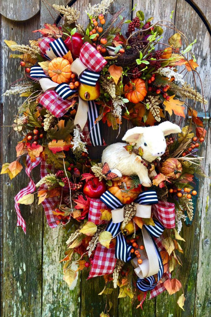 Country farm fall wreath, fall pig wreath, fall floral grapevine wreath, fall leaves, country wreath, farm wreath, autumn, Thanksgiving