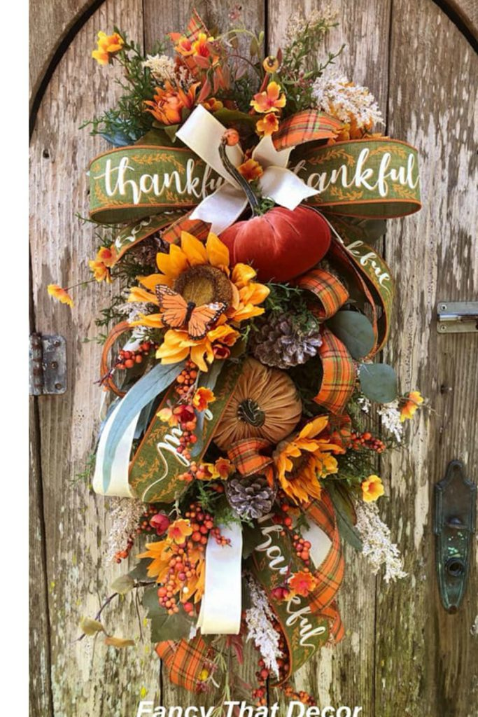 fall swag, fall wreath swag, fall swag velvet pumpkins, thanksgiving wreath