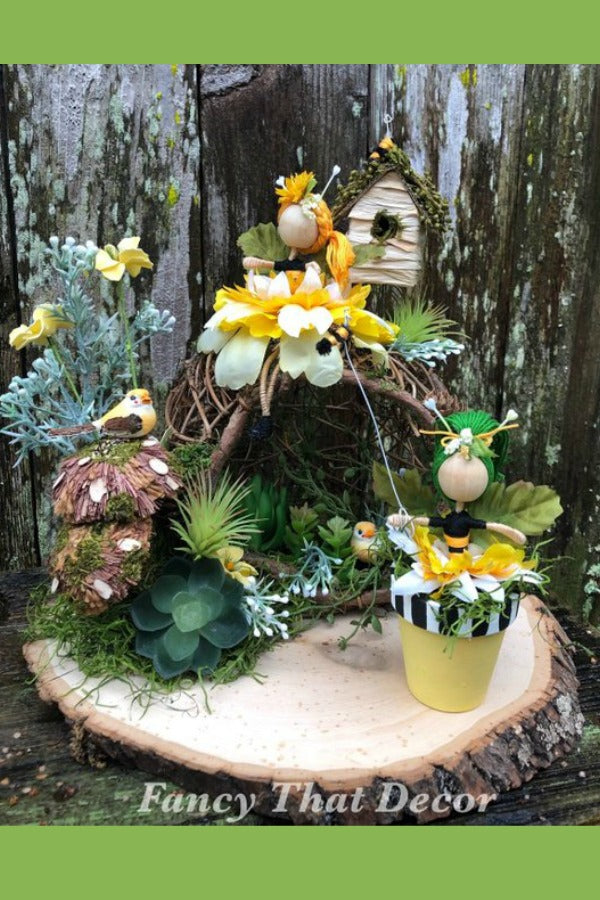 Fairy garden centerpiece, fairy garden arrangement, flower fairies, spring centerpiece, Spring arrangement, tabletop fairy garden, spring