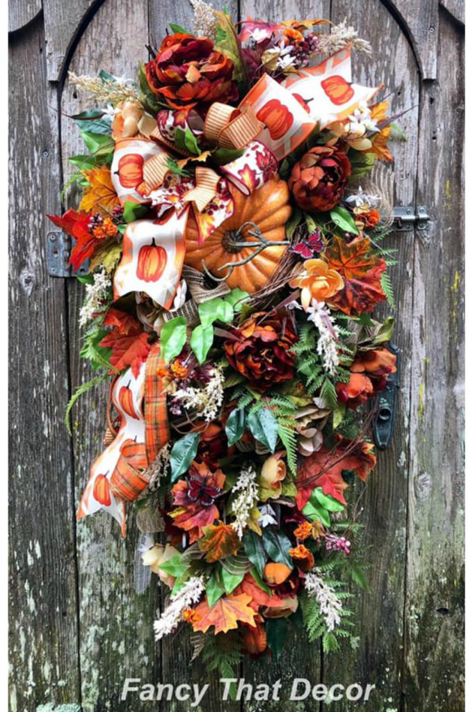 Fall pumpkin swag, autumn door swag, fall front door swag, pumpkin swag, fall front door, autumn front door, fall decor, thanksgiving swag
